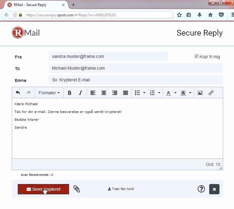 besvar krypteret